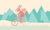 vintage, easter, bunny, bike, humor, cartoon,  stippling, style, retro, type,happy,