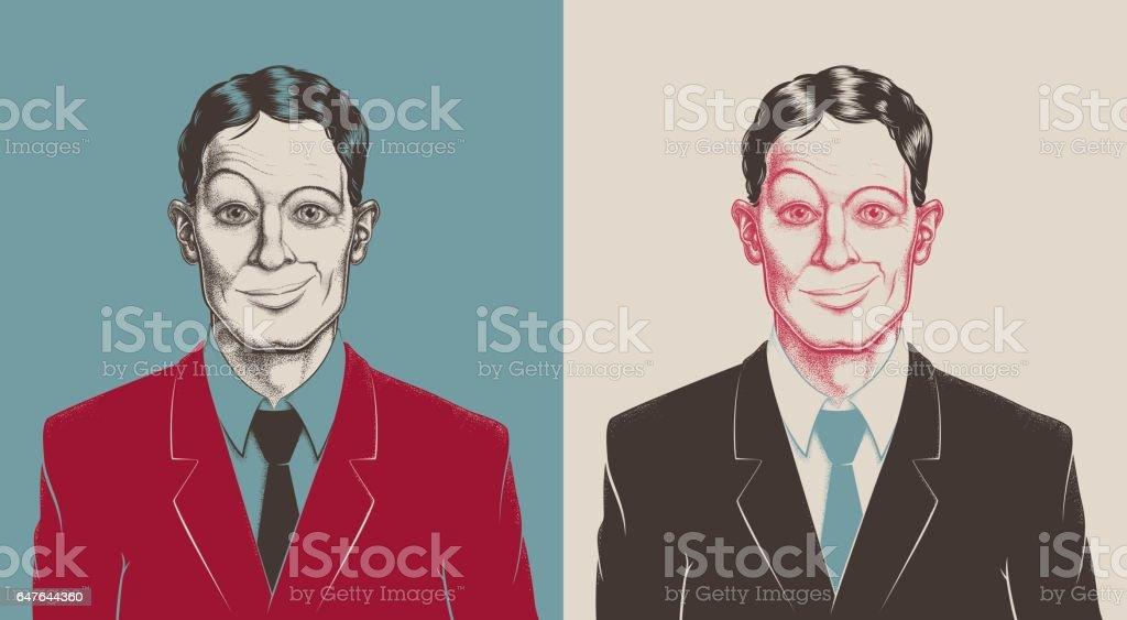 Tüpfelung Porträt Geschäftsmann – Vektorgrafik