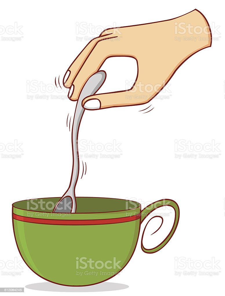 stirring coffee vector art illustration