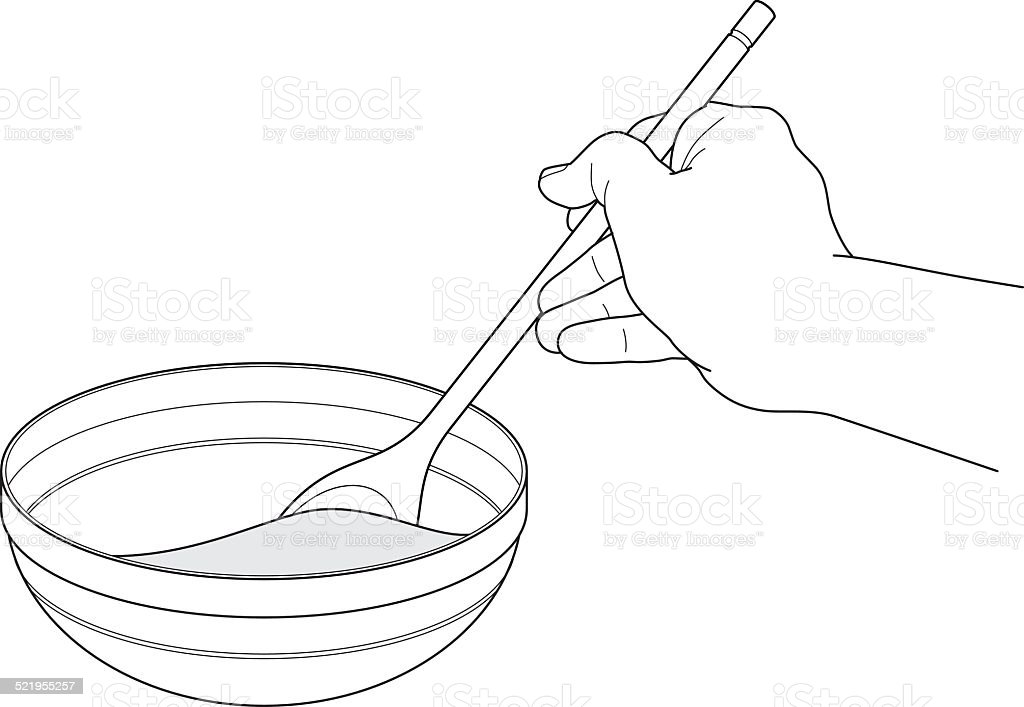 stirring vector art illustration