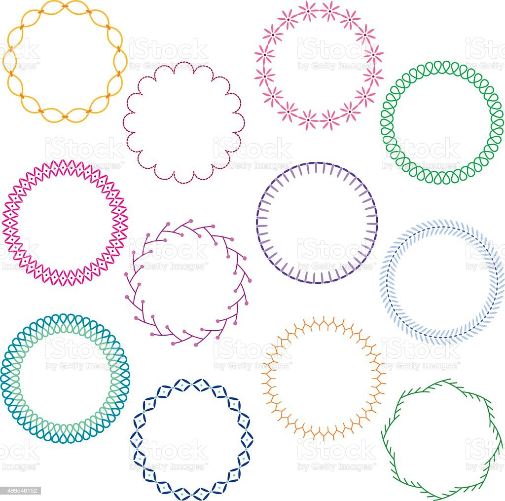 stitched circle frames