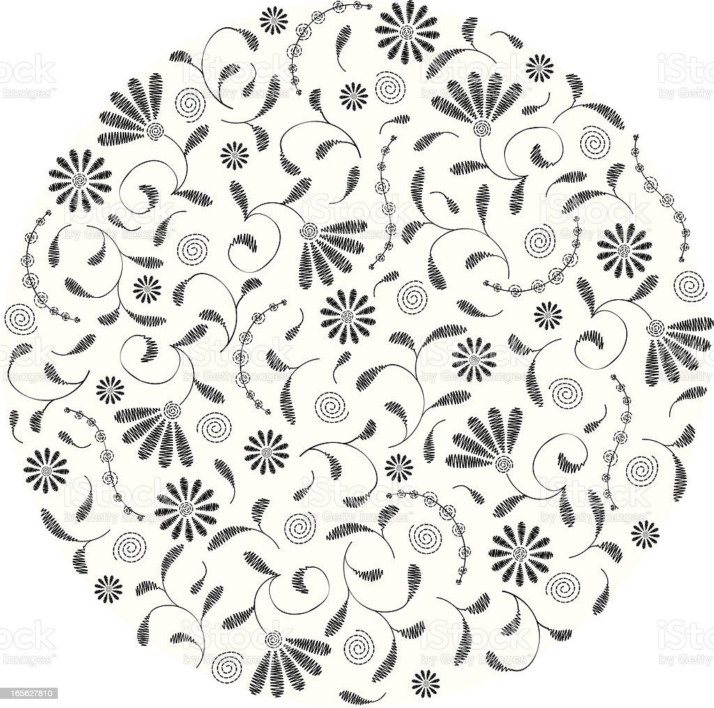 Stitched Floral Circle royalty-free stock vector art