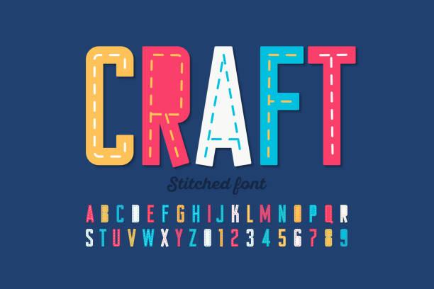 ステッチのフォント - 編む点のイラスト素材/クリップアート素材/マンガ素材/アイコン素材