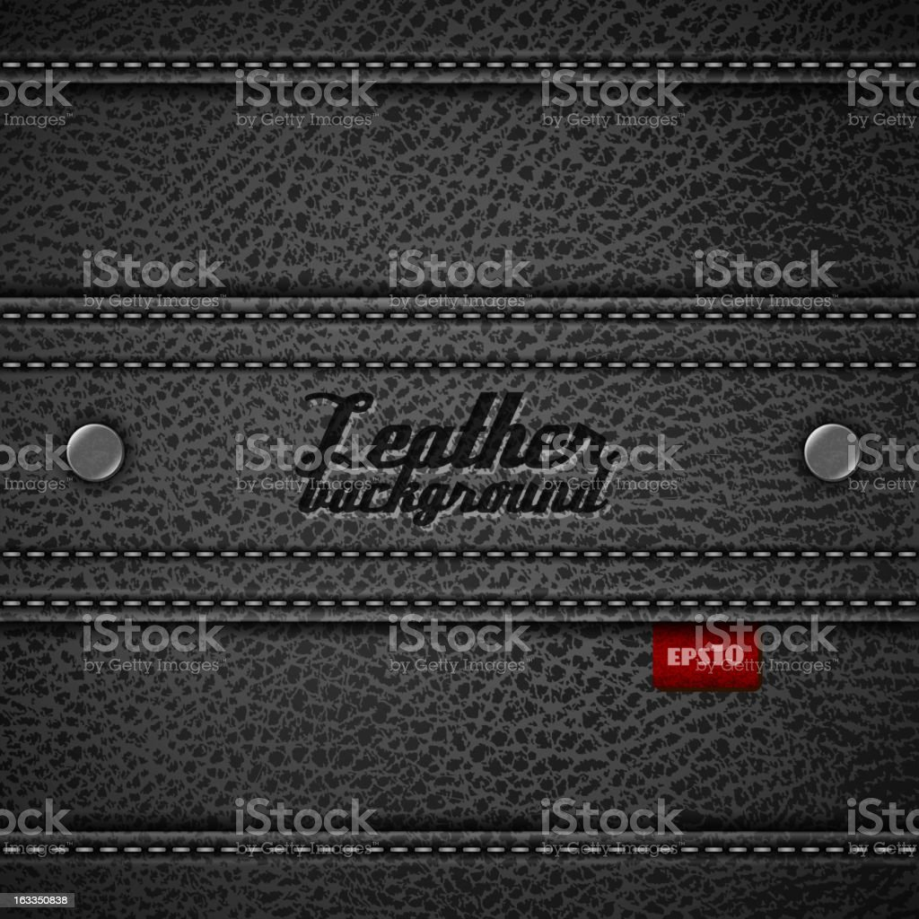 Stitched leather background vector art illustration