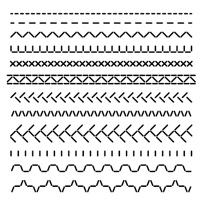 Stitched seamless borders, sewing machine seams for fabric structure vector set isolated