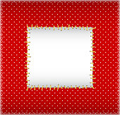 Patch frame with stiched square on the polka dot fabric