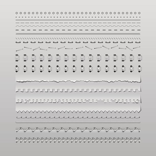 illustrazioni stock, clip art, cartoni animati e icone di tendenza di punti di sutura e divisori - pezze di stoffa