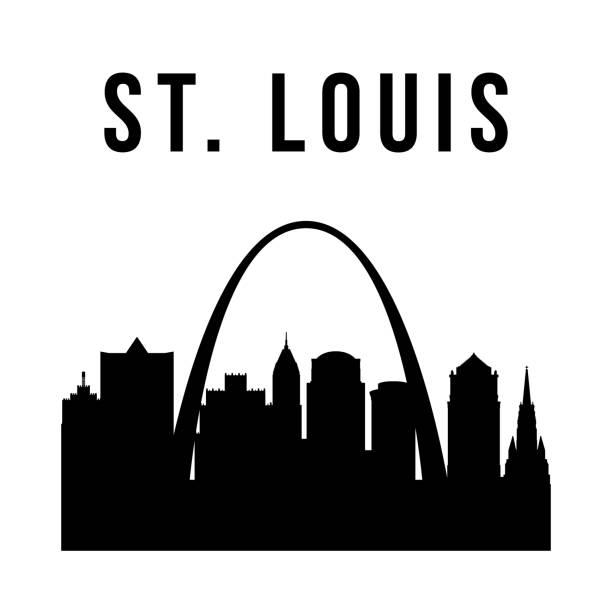 聖路易斯市簡單的剪影。現代城市背景。向量天際線。 - st louis 幅插畫檔、美工圖案、卡通及圖標