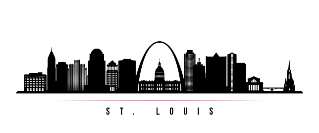 St.Louis skyline horizontal banner. Black and white silhouette of St.Louis, Missouri. Vector template for your design.