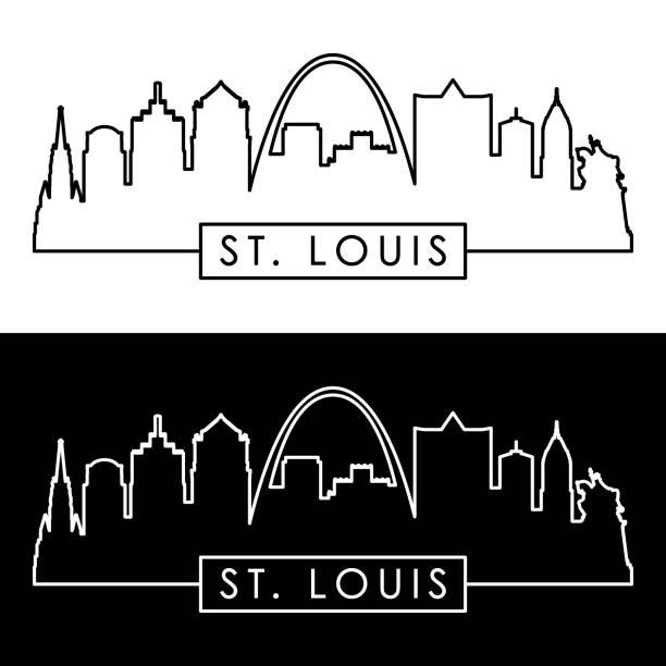 聖.路易士的天際線。線性的風格。 - st louis 幅插畫檔、美工圖案、卡通及圖標