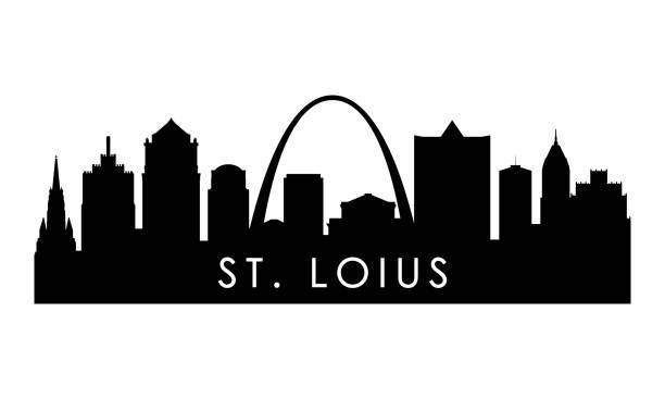 聖路易斯天際線剪影。黑色聖路易斯城市設計孤立在白色背景。 - st louis 幅插畫檔、美工圖案、卡通及圖標