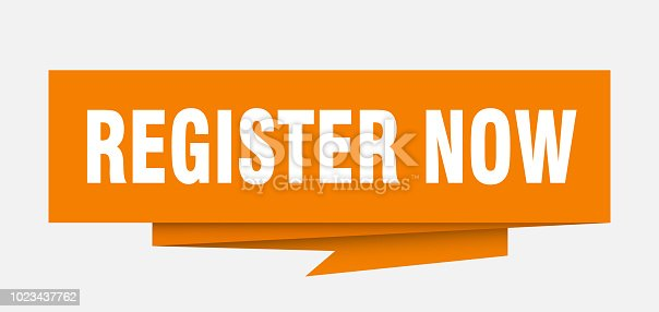 register now sign. register now paper origami speech bubble. register now tag. register now banner