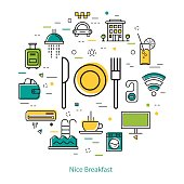 Vector round web banner of best hotel and nice breakfast. Modern thin line icons in colors. Plate, fork and knife and pictographs of hotel service, communications, coffee, payment and room accessories