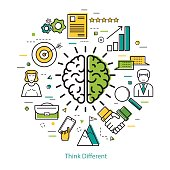 Vector concept of Think Different Round Concept in Thin Line Art Style. Human brain and business icons - document, charts, computer and man users