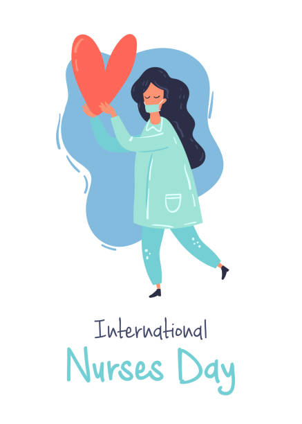 Stock 500x500 Material Design Nurse character with the strong heart vector flat design illustration. International nurses day greeting card. nurse stock illustrations