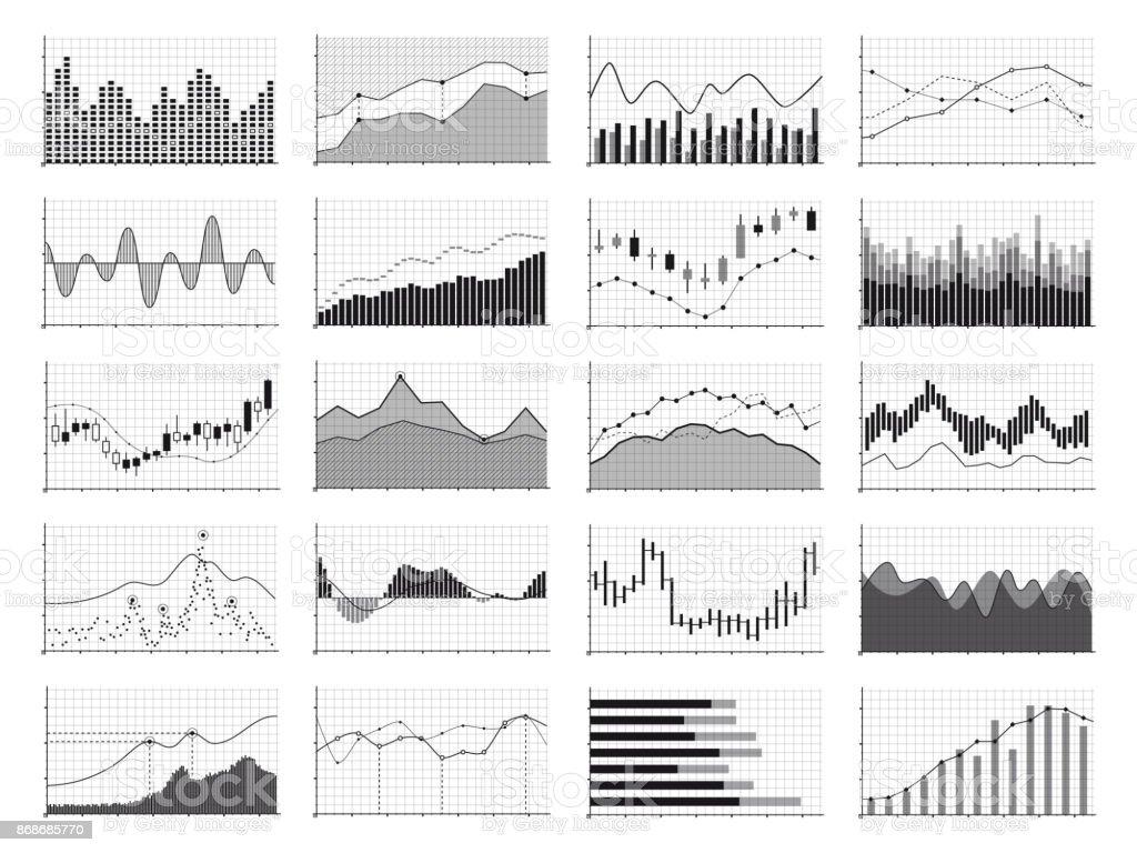 Analyse des stocks graphiques ou affaires financières dimensionnelles isolés sur fond blanc - Illustration vectorielle