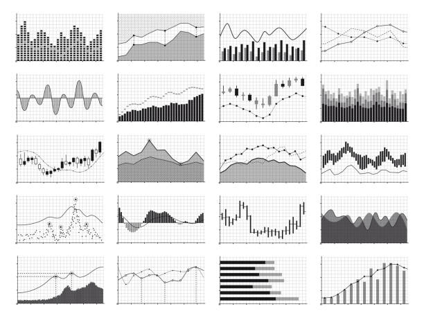 Stock analysis graphics or business data financial charts isolated on white background Stock analysis graphics or business data financial charts isolated on white background. Chart and graph, financial diagram growth and progress, vector illustration stock market data stock illustrations