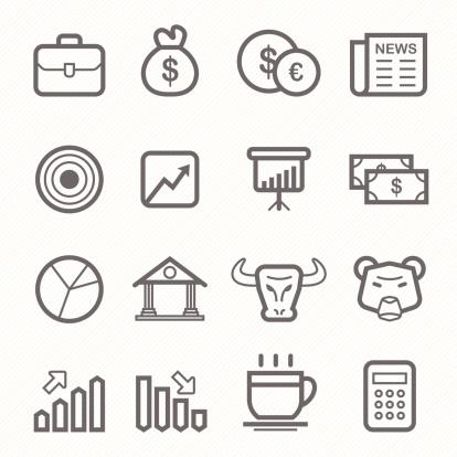stock and market symbol line icon set