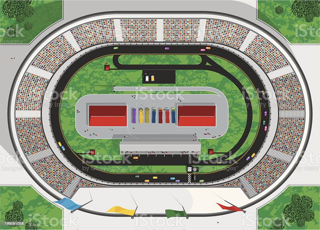 Stock Car Race Track vector art illustration