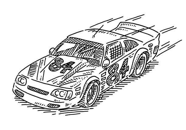 Stock Car Racing Drawing Hand-drawn vector drawing of an american Stock Car Racing vehicle. Black-and-White sketch on a transparent background (.eps-file). Included files are EPS (v10) and Hi-Res JPG. motor sport stock illustrations