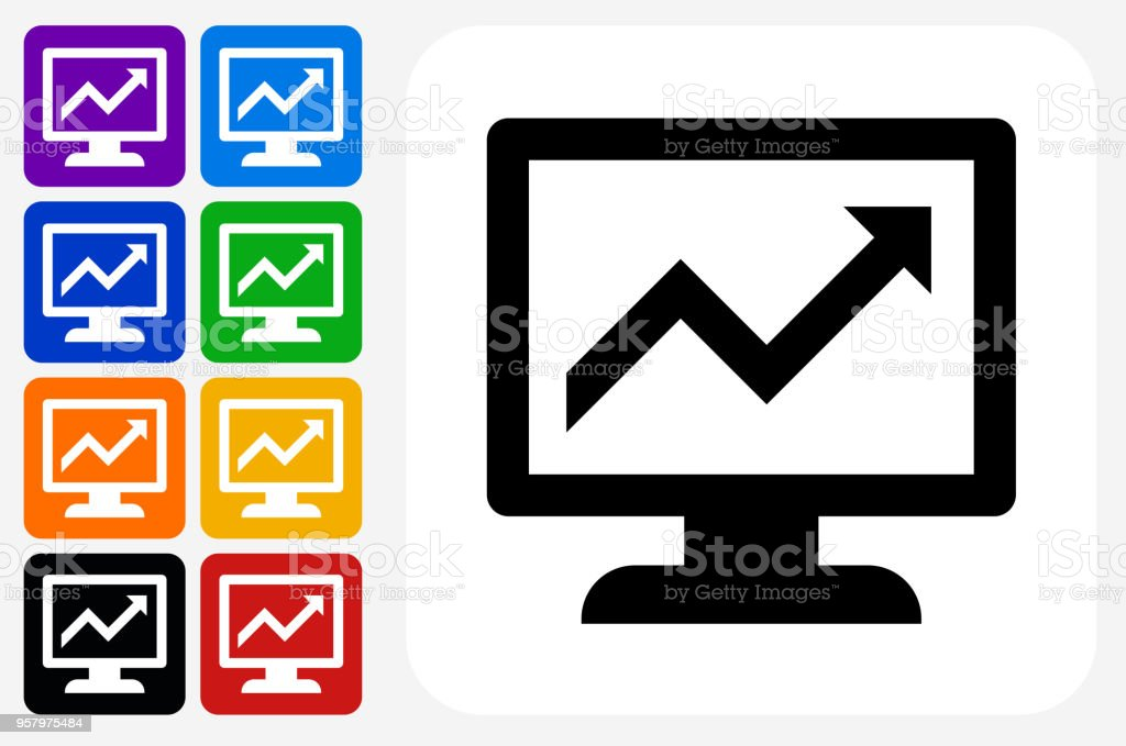 Stock Charts Icon Square Button Set Stock Illustration