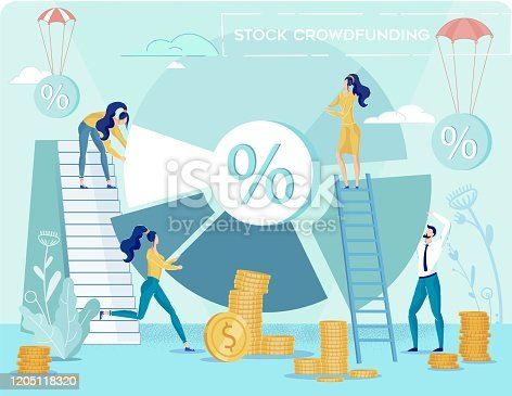 Stock Crowdfunding and Fundraising. Return on Business Investment and Profit Collection. People Analytics Team Calculating and Discussing Income Percentage Round Diagram. Vector Illustration