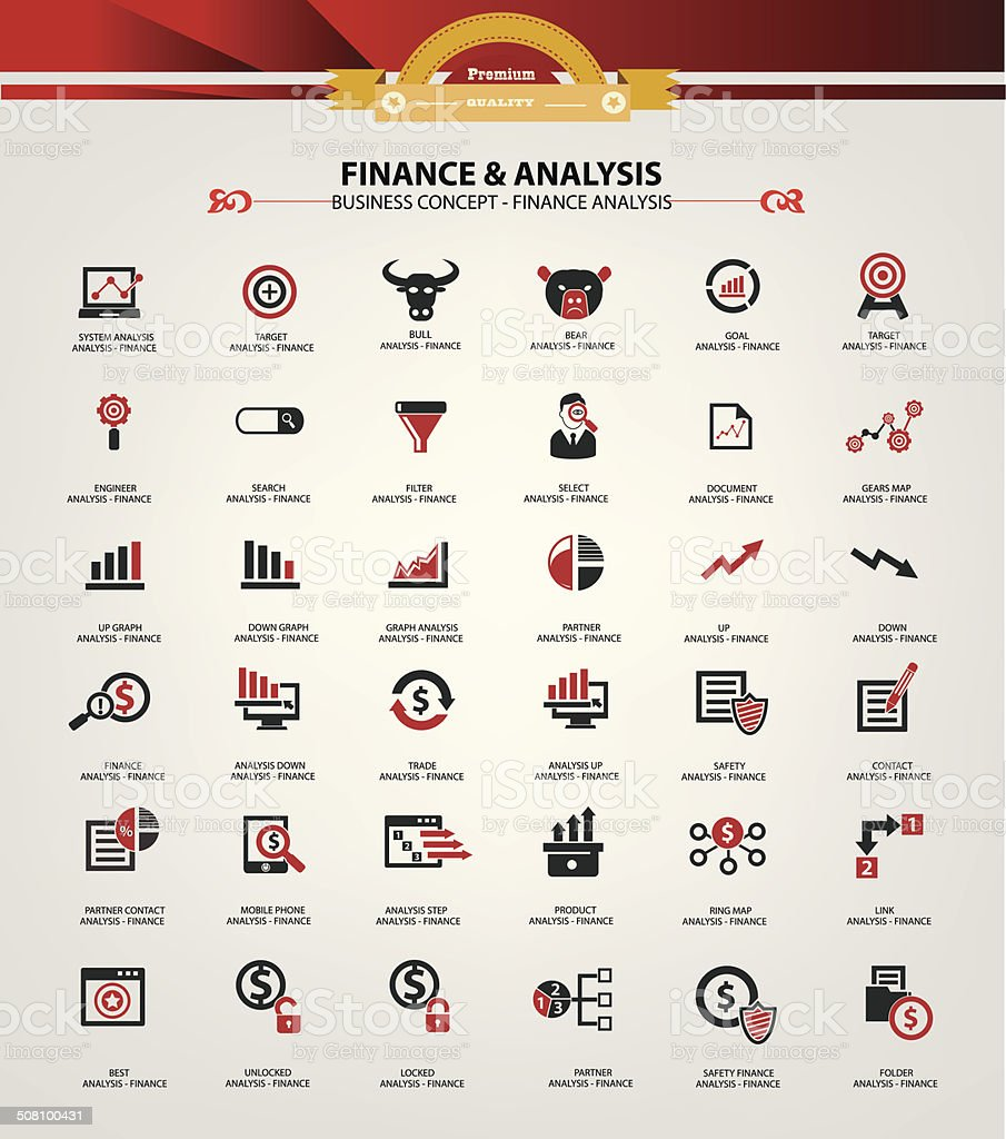 Stock exchange and analysis icons,Red version,vector vector art illustration