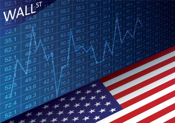 Stock exchange chart and american flag. Data analyzing in trading market on Wall Street. Stock exchange chart and american flag. Data analyzing in trading market on Wall Street. Working set for analyzing financial statistics and analyzing a market data. wall street stock illustrations