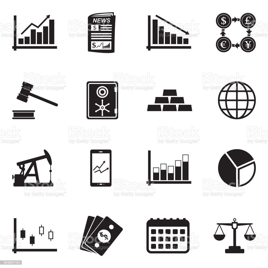 Iconos de la bolsa de valores. Diseño plano negro. Ilustración de vector. - ilustración de arte vectorial