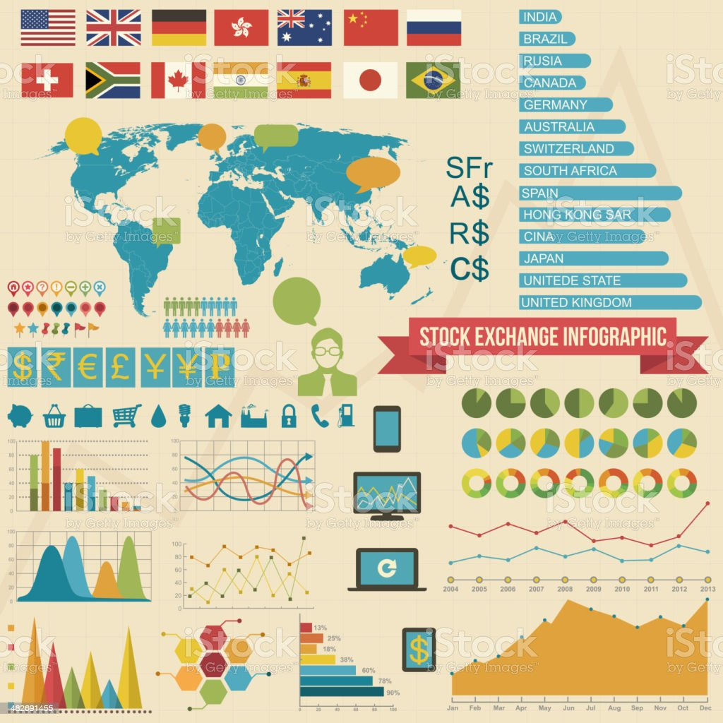 Stock Exchange Infographic Elements vector art illustration