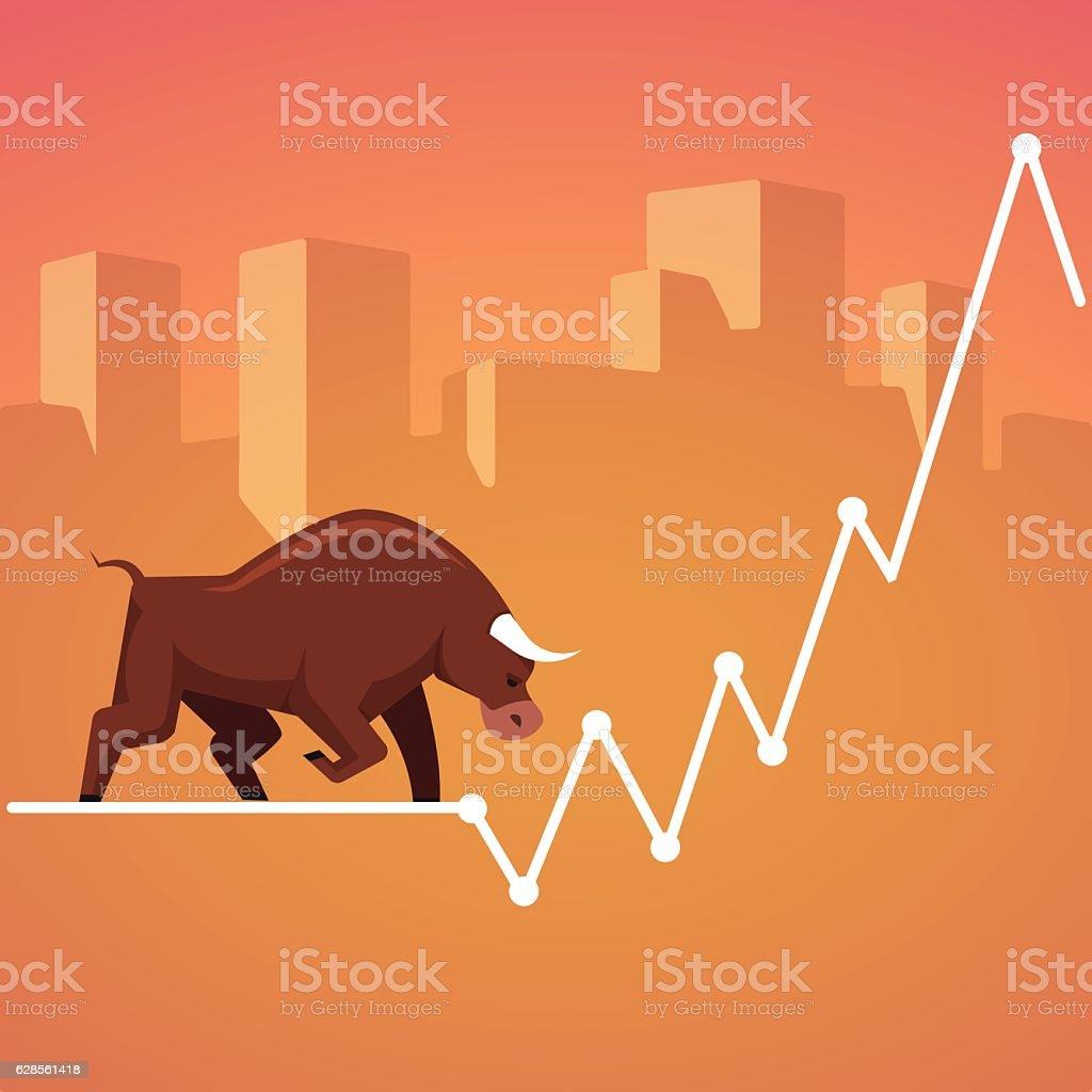 Stock exchange market bulls metaphor vector art illustration