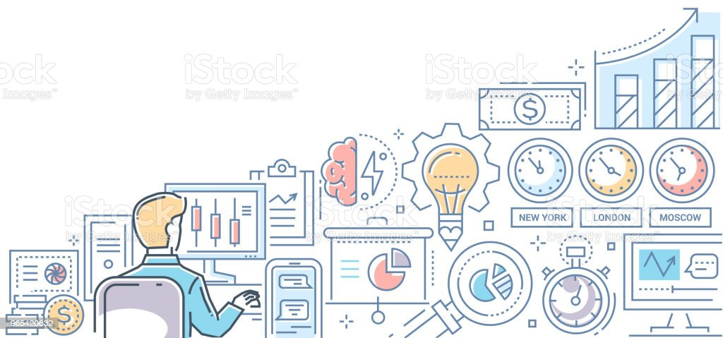 Stock exchange - modern line design style colorful illustration stock exchange modern line design style colorful illustration - stockowe grafiki wektorowe i więcej obrazów biznes royalty-free
