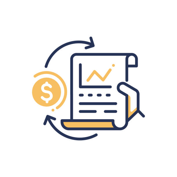 Stock Exchange - modern vector line design icon. Stock Exchange - modern vector single line design icon. An image depicting a hand holding sheet of paper with chart, yellow dollar sign on white background. Use it for business and finance presentation. bonding stock illustrations