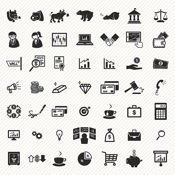Stock financial icons set. illustration eps10 Stock financial icons set. illustration eps10 wall street stock illustrations