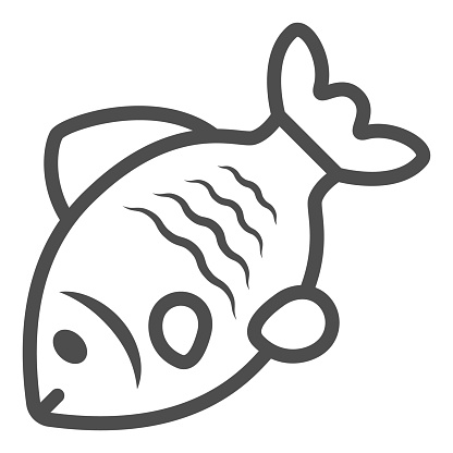 Stock fish line icon, Oktoberfest concept, Oktoberfest German festival traditional food sign on white background, Sea roach icon in outline style for mobile and web design. Vector graphics.