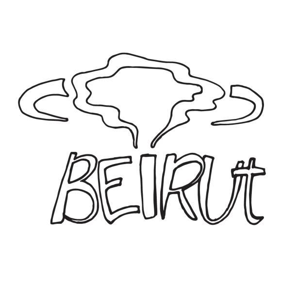 股票插圖。貝魯特銘文和爆炸雲。黎巴嫩,貝魯特的災難的象徵。為貝魯特祈禱。 - beirut explosion 幅插畫檔、美工圖案、卡通及圖標