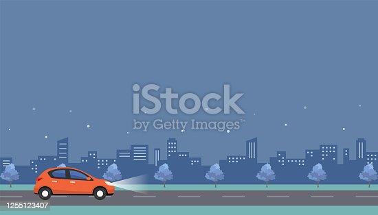 istock Stock Illustration: car on a dark road at night 1255123407