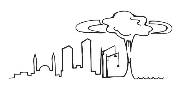 stock illustration, explosion in the port of beirut, lebanon. tragedy in beirut, explosion, accident. line drawing of the silhouette of the city of beirut. pray for beirut - beirut explosion stock illustrations