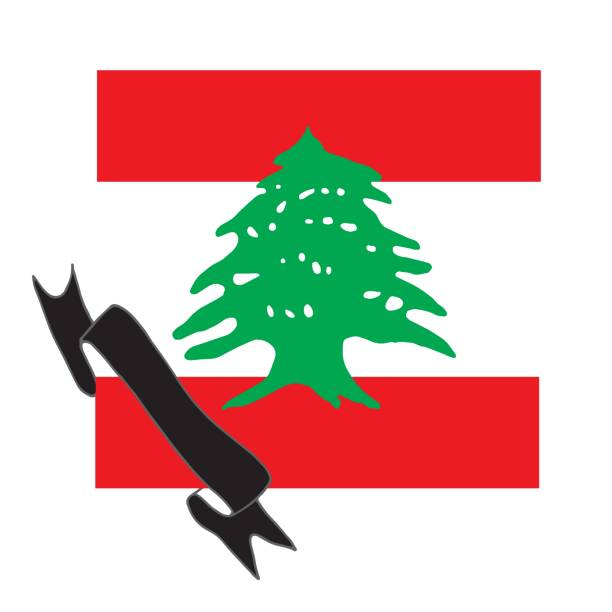 stock illustration of lebanon flag with black ribbon. a symbol of mourning for those killed in beirut. explosion, disaster in beirut. pray for beirut - beirut explosion stock illustrations