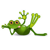 Stock Illustration Thick Frog Resting on a White Background