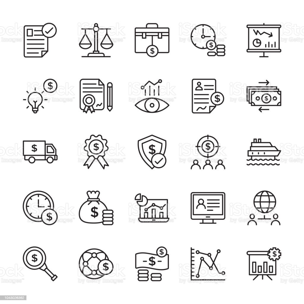 Stock Investment Line Icons vector art illustration