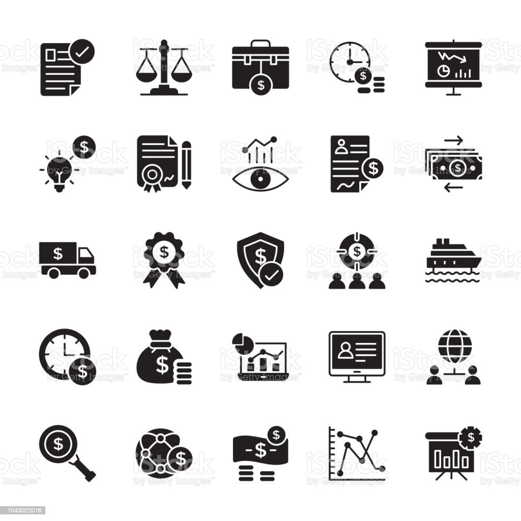 Stock Investment Solid Icons vector art illustration