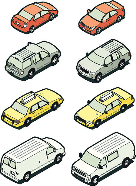 Stock Isometric Vehicles, Front and Back vector art illustration