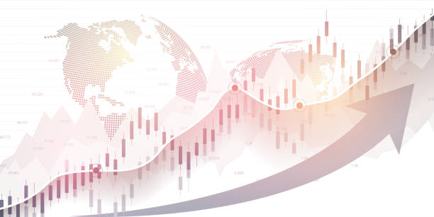 Börse und Börse. Business Candle Stick Diagramm Diagramm des Börsen-Investment-Handels. Börsendaten. Bullish Point, Trend der Grafik. Vektor-Illustration – Vektorgrafik