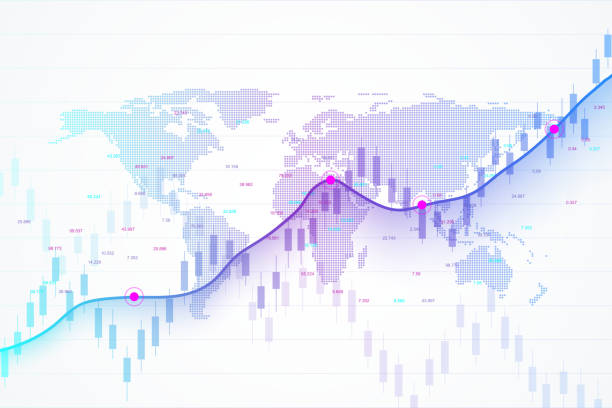 Stock market and exchange. Candle stick graph chart of stock market investment trading. Stock market data. Bullish point, Trend of graph. Vector illustration Stock market and exchange. Candle stick graph chart of stock market investment trading. Stock market data. Bullish point, Trend of graph. Vector illustration exchange rate stock illustrations