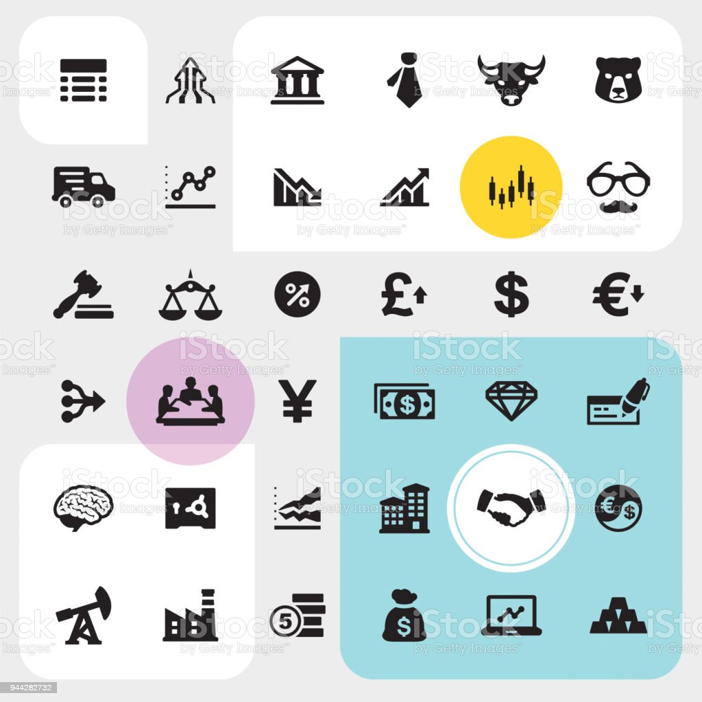 Stock market and Finance icon set vector art illustration