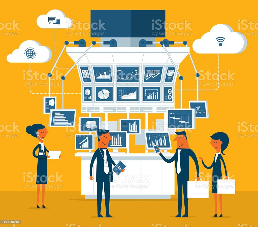 Stock Market and Traders vector art illustration