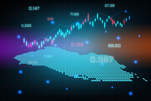 Stock market background or forex trading business graph chart for financial investment concept of El Salvador map. business idea and technology innovation design.