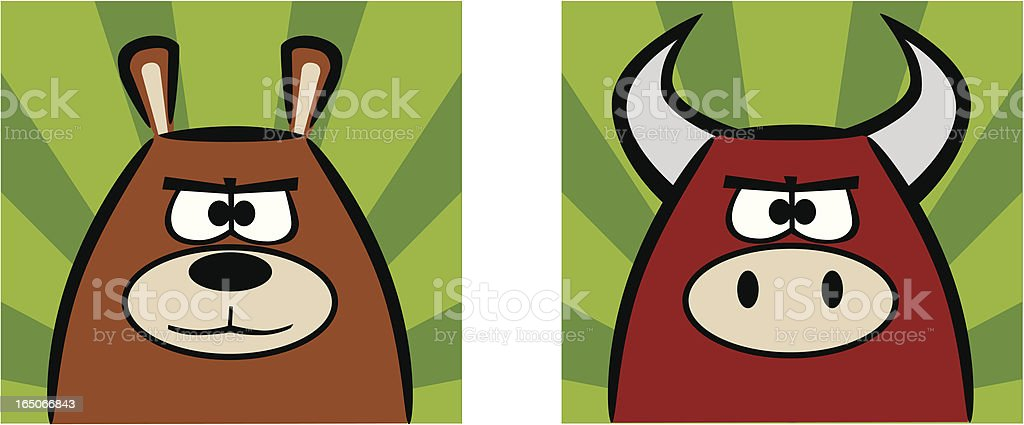 Stock Market Bear and Bull Icons royalty-free stock vector art