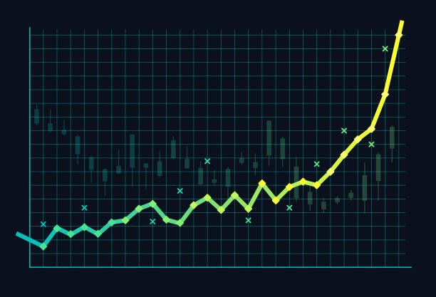 Stock Market Bubble or Growth Stock market growth bubble spike exponential growth background concept. economic reform stock illustrations
